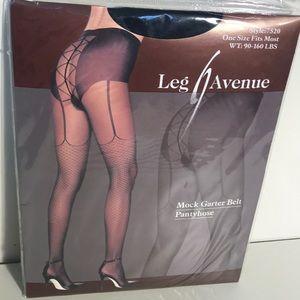 NWOT Leg Avenue Black Mock Garter Belt Pantyhose